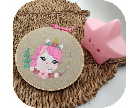 machine embroidery design  unicorn  with flowers