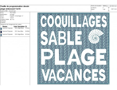 machine embroidery design beach text embossed