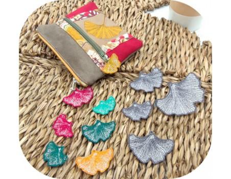 machine embroidery design FSL ginkgo biloba