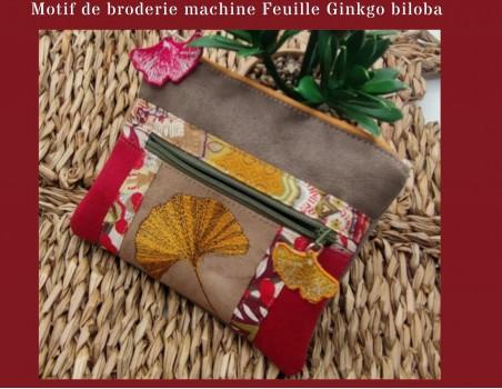 machine embroidery design  ginkgo biloba