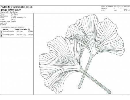 Motif de broderie machine feuilles  ginkgo biloba