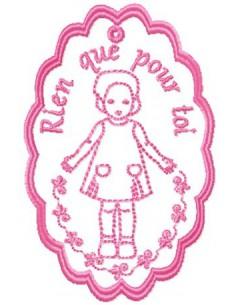 Etiquette poupée Rien que pour toi 10x10cm