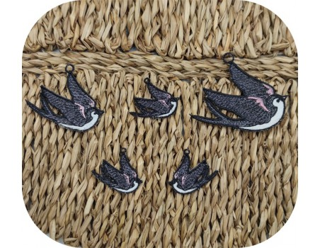 machine embroidery design FSL swallow
