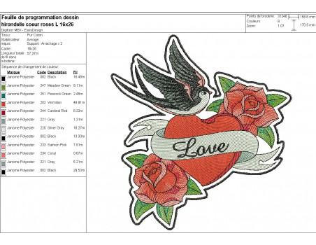 machine embroidery design  rippled rockabilly swallow