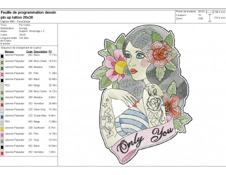 machine embroidery design  rippled pin up rockabilly