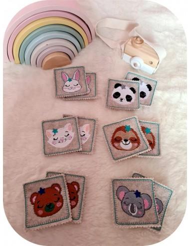 machine embroidery design ith flower animal heads boy montessori memory 2