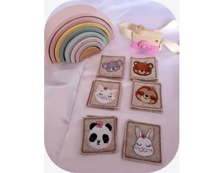 machine embroidery design ith flower animal heads girl montessori memory 2