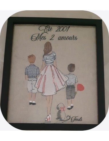 machine embroidery design  rippled mother and her sons