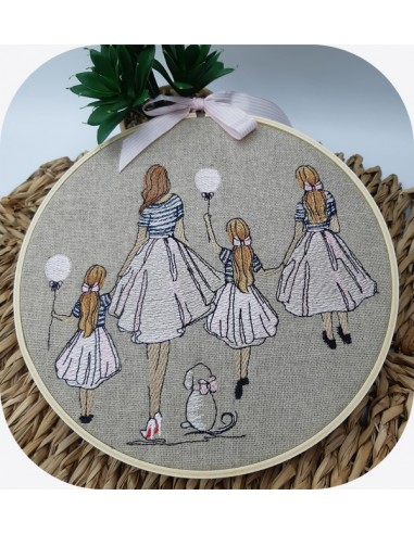 machine embroidery design  rippled mother with her daughters