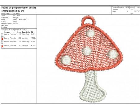 machine embroidery design FSL red mushroom