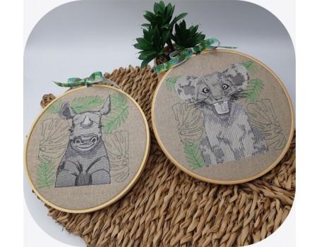 machine embroidery design savannah rhinoceros