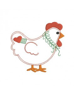 machine embroidery design applique  hen