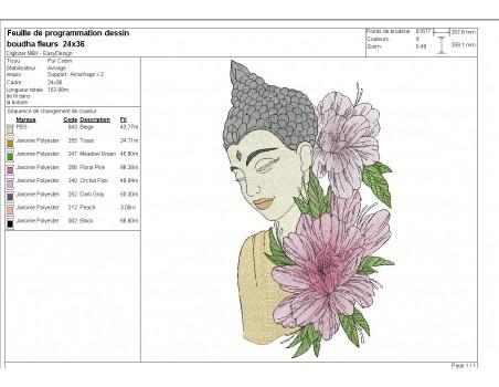 machine embroidery design  buddha  flowers