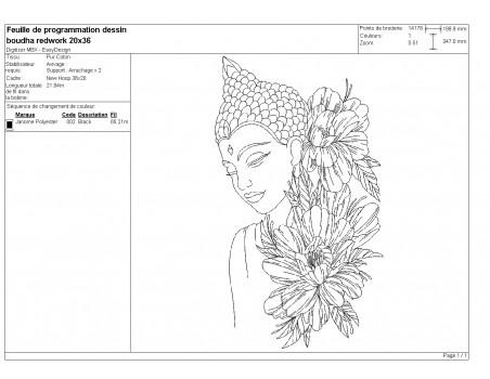 machine embroidery design  redwork buddha  flowers