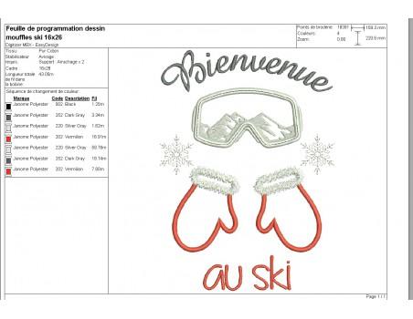 machine embroidery design  machine Ski mittens
