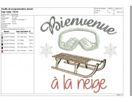 machine embroidery design  machine Ski sled
