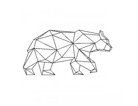 machine embroidery design geometric bear