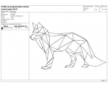 machine embroidery design geometric fox