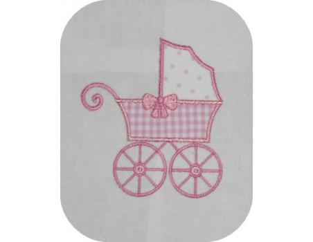 machine embroidery design  applique pram