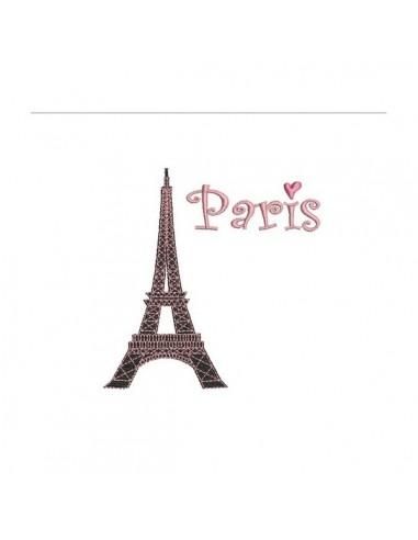 Motif de broderie machine Tour Eiffel Paris