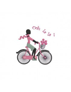 embroidery design machine Parisian woman cycling