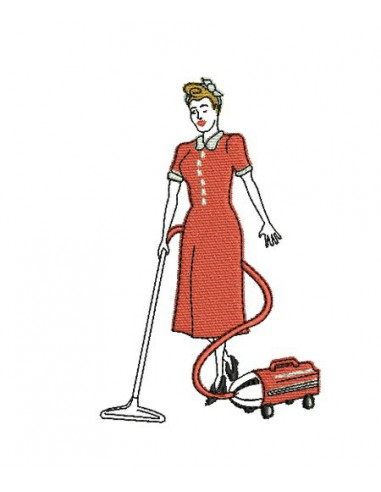machine embroidery design  housewife woman 50s