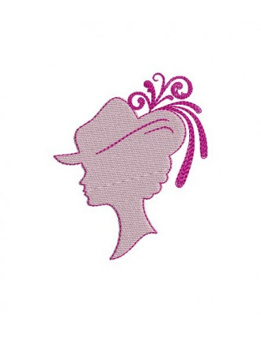 Instant download machine embroidery design  cameo woman in hat