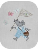 machine embroidery design  applique mouse chase butterflies