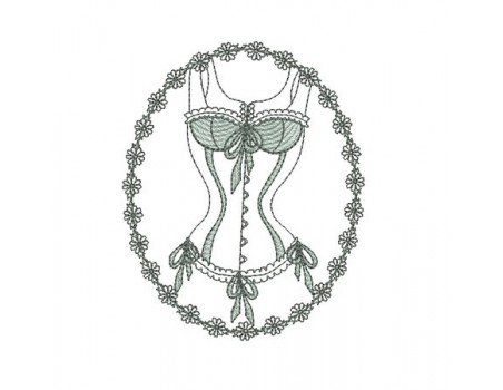Motif de broderie  machine lingerie bustier