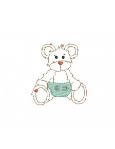 machine embroidery design  little bear
