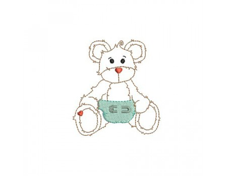 machine embroidery design  little bear