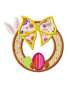 Instant download machine embroidery  applique easter wreath