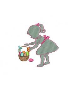 Motif de broderie machine silhouette fille pâques