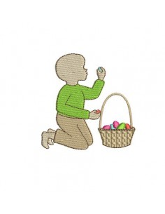 Motif de broderie machine silhouette garçon Pâques