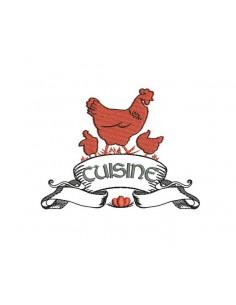 Motif de broderie machine enseigne cuisine poules