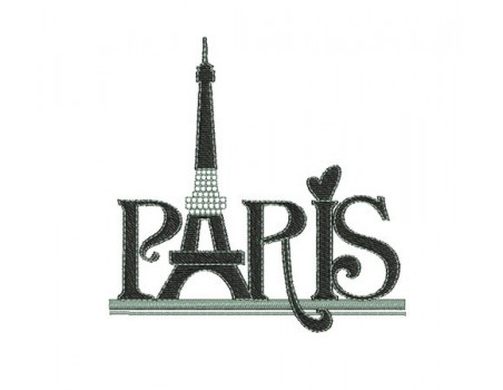 Motif de broderie machine Paris tour eiffel strass