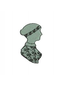 Motif de broderie machine camée femme rétro