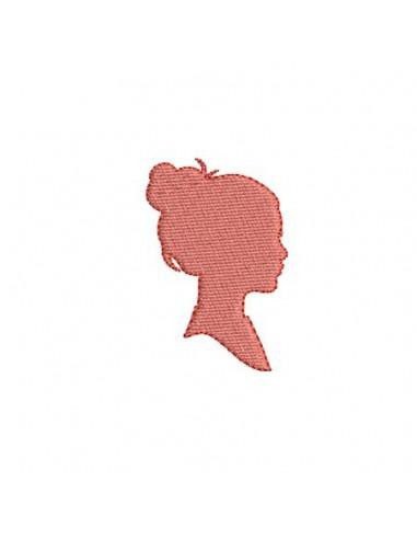 Motif de broderie machine camée jeune fille