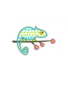 Instant download machine embroidery applique chameleon