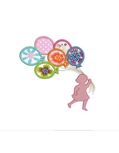 Motif de broderie machine silhouette petite fille  aux ballons