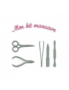 Instant download machine embroidery kit manicure