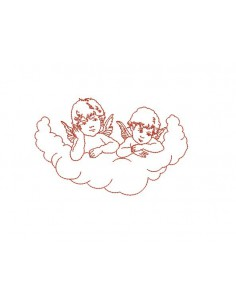 Motif de broderie machine anges dans un nuage