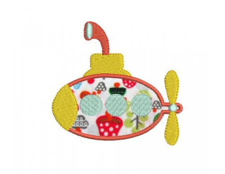 Instant download machine embroidery submarine