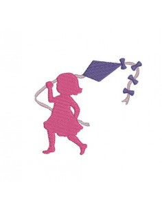 Instant download machine embroidery Silhouette girl with kite