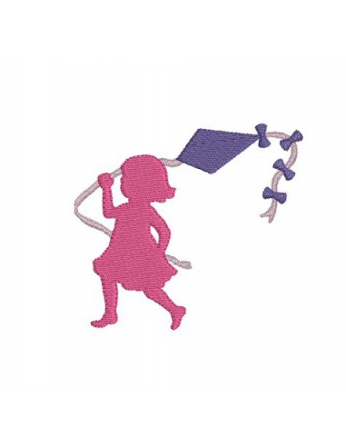 Motif de broderie silhouette fille au cerf volant