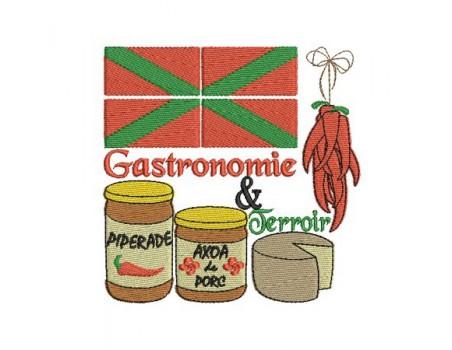 Motif de broderie machine gastronomie pays basque