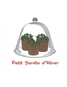 Motif de broderie petis pots de plantes sous cloche