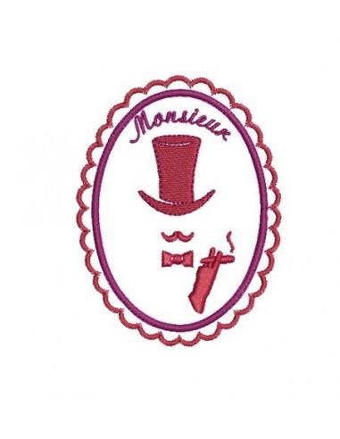 Motif de broderie machine camée Monsieur dans son médaillon festonné