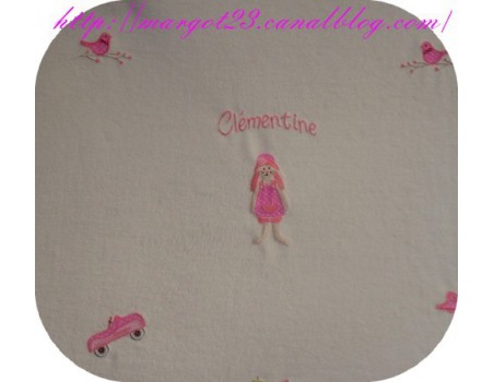 Instant download machine embroidery  rabbit girl