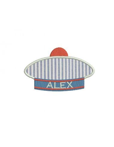 Motif de broderie machine chapeau marin